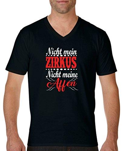 Comedy Shirts - Nicht mein Zirkus, Nicht Meine Affen - Herren V-Neck T-Shirt - Schwarz/Weiss-Rot Gr. M