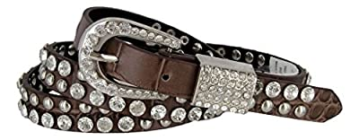 Skinny Western Cowgirl Crystal Bling Alligator Rhinestone Leather Belts 3/4""