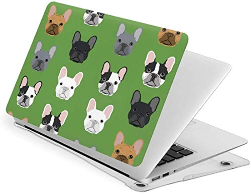 Green Frenchie Dog Case for MacBook Pro 13 (2019 2018 2017 2016 Release) - Protective Snap On Hard Shell Cover for MacBook Pro 13 Inch A2159 A1989 A1706 A1708 with Retina Display and Touch Id