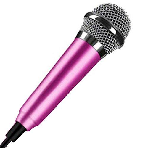 ORETG45 Mini micrófono de mano de 3,5 mm, micrófono vocal portátil, micrófono de karaoke móvil micrófono condensador para teléfono, portátil, uso para grabación de voz, chat por Internet.