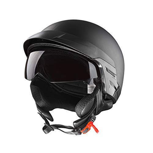 CARTMAN Motorcycle Helmet Open Face Sun Visor Quick Release Buckle DOT Approved, Large