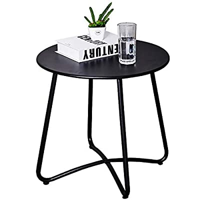 Patio Metal Side Table, Round Small Portable Weather Resistant Outdoor Coffee Table Perfect for Garden, Yard, Balcony, Lawn (Black)