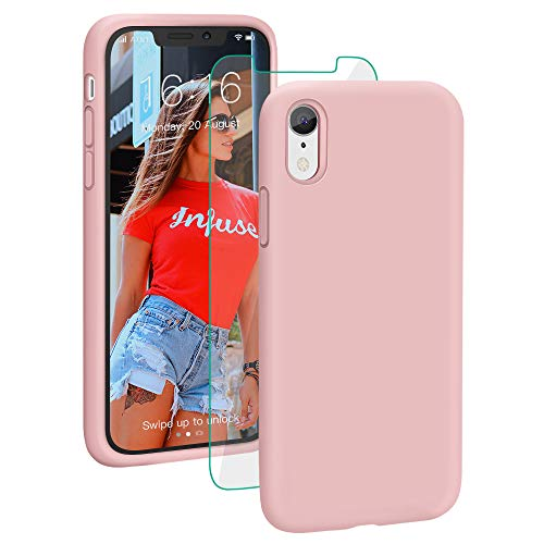ProBien Case for iPhone XR, Liquid Silicone Full Protective Phone Cover with Tempered Screen Protector Shockproof Shell for iPhone XR-Sand Pink