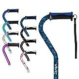 Vive Walking Cane - for Men & Women - Portable, Adjustable Offset Balance Stick - Lightweight & Sturdy Mobility Walker Aid for Arthritis, Elderly, Seniors & Handicap (Blue Floral)