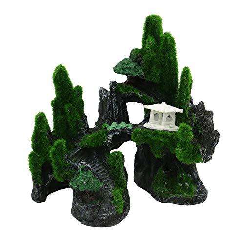 FLAMEER 1 Pieza de Ornamento de Acuario Paisaje rocosa pecera decoración de pecera de montaña Artificial Coral Roca Cueva Fondo de Piedra Accesorios no se