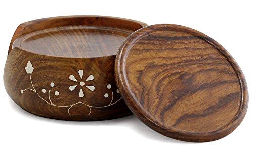 WhopperIndia Sous-verres à boire, ensemble de 6 protections de table pour tout type de table, bois, granit, verre, pierre à savon, grès, marbre, tables en pierre Perfect Coaster