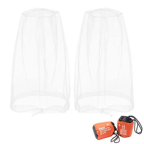Benvo Head Net Mesh, Protective Cover Mask Face from Insect Bug Bee Mosquito Gnats for Any Outdoor Lover- with Free Carry Bags (2pcs, White, Updated Big Size)