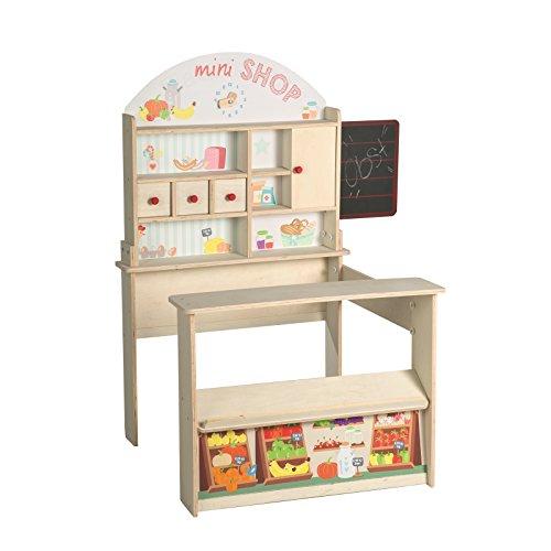 roba Kaufladen 'Minishop', Kinder Kaufmannsladen, Holz natur, Verkaufsstand mit Theke, Tafel, Schiebetür & Markststand Bedruckung