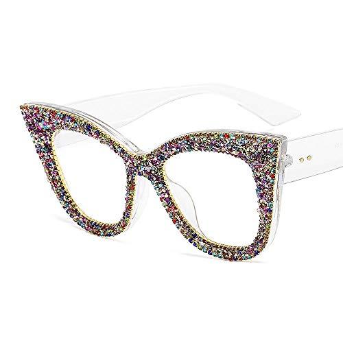 Gafas de sol retro con forma de ojo de gato, gafas de sol populares con montura grande para mujer, que se pueden equipar con gafas planas para miopía, transparentes