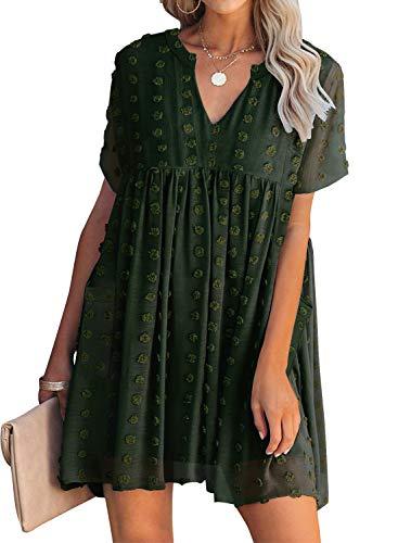 MIHOLL Womens V Neck Short Sleeve Ruffle Loose Fit Summer Babydoll Mini Dress with Pockets