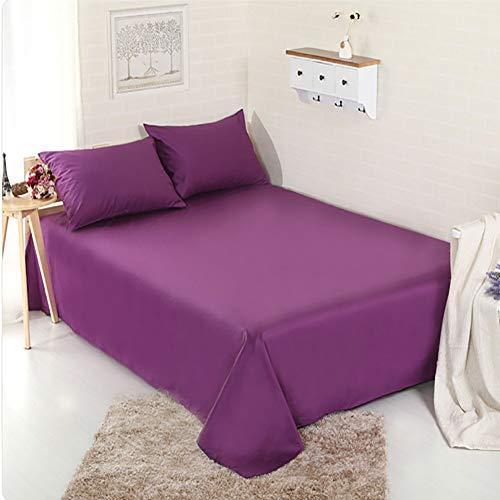 LJWLZFCGN Cómodo Transpirable Algodón Puro Hoja Plana,Active Twill Hotel Dormitorio Hojas,Color Sólido Suave Cuidado FÁCIL Sostenible Sábana Bajera-Púrpura 180x245cm(71x96inch)