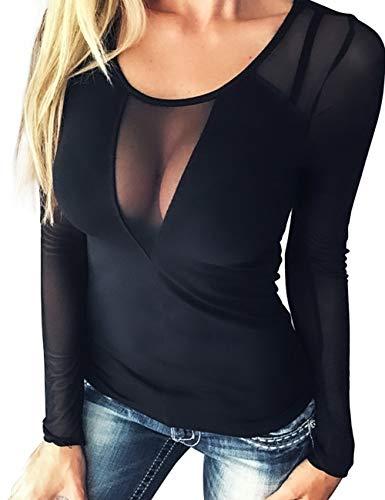 Dilgul Camisetas Mujer Transparentes Blusa Sexy Cuello en V Mangas Largas Elegante Moda Malla Pura Party Clubwear Blusas Nergo X-Small