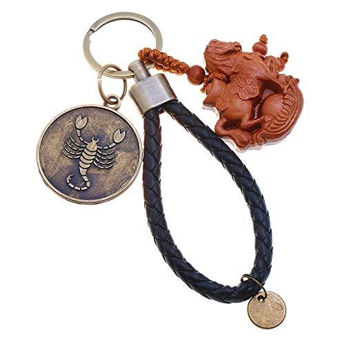 Schlüsselanhänger mit 12 Sternbildern aus Leder, Online-Shop, Geschenke, kreativer Anhänger, Skorpion, einzeln verpackt, - Einfarbig - Größe: Einheitsgröße