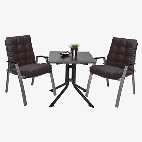 2 Cojín de Silla Jardin Conjunto de 40x60 cm Asiento para Interior y Exterior Cómodo. Cojines para sillas, tumbonas, mecedoras terraza. (Negro)