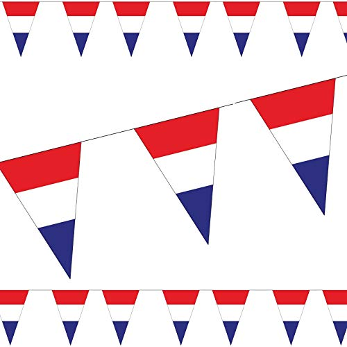 3,5m Wimpelkette * NIEDERLANDE / Holland * als Deko für Länderparty | Mottoparty Banner Girlande Partykette Rot Weiss Blau