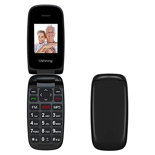 Ushining Teléfonos Móviles Libre, Móviles para Personas Mayores con Teclas Grandes, Fácil de Usar Teléfono Celular con Doble SIM y SOS Botón, Radio FM, Cámara - Negro