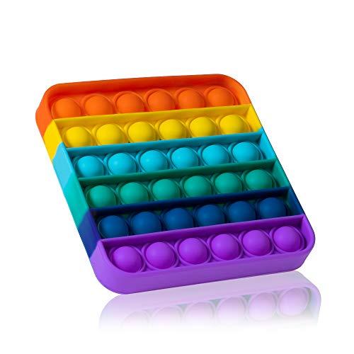 Brinquedo Sensorial Push Pop Bubble Fidget Brinquedo Push Pop, Quadrado, Arco-íris