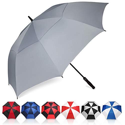 Amazon Brand - Eono Ombrello da Golf Aperto Automatico, 62 inch, Large Golf Umbrella, Ombrello Grande, Disegno Antivento Super Resistente, Umbrella di Viaggio con Custodia Impermeabile - Grigio
