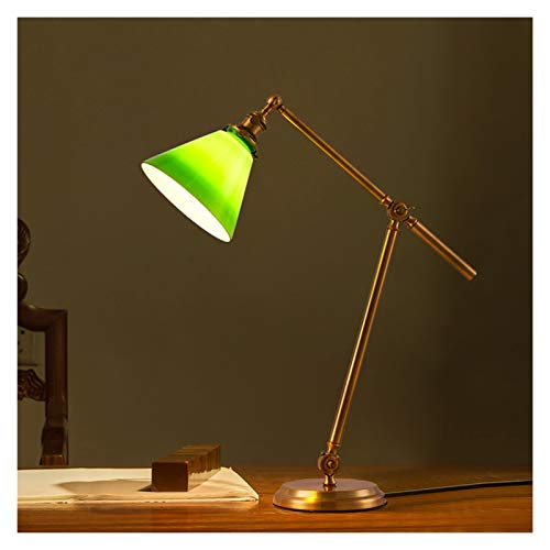 Lámpara de lectura plegable de la lámpara de lectura de cobre retro de la lámpara de lectura plegable de la lámpara de mesa regulable con sombra de cristal verde oscuro, luz cálida, interruptor de bot
