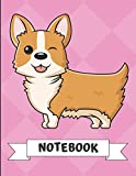 Notebook: Winking Corgi Puppy Dog Cartoon on a Pink Diamond Background. Book is Filled with Lined Journal Paper for Notes and Creating Writing.