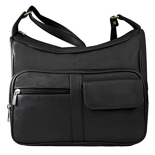 SILVERFEVER Medium Leather Handbag | Ladies Shoulder Bag | Organizer w Built in Wallet (Black)