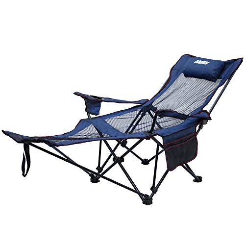 cheap Anigmesh Lounge Folding Chair with Footrest (Blue)