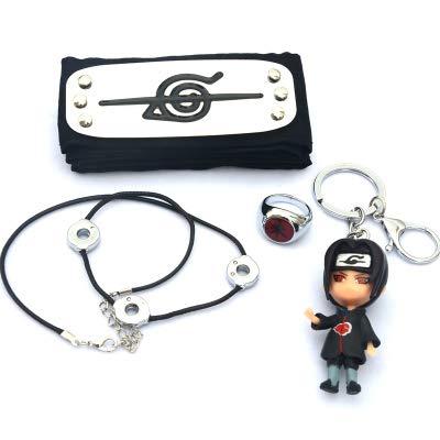 Siskey Naruto Stirnband 4 Teiliges Set,Naruto Ring(朱 - Uchiha Itachi),Stirnband Sasuke Itachi Uchiha Obito Tobi Cosplay,Naruto Halskette,Itachi,Naruto Shippuden