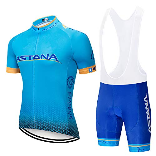 Tenue de Cycliste VTT Été Homme Manche Courte Vetement VTT et Cuissard Court Vélo avec 3D Gel Coussin Respirant Maillot Cyclisme Été
