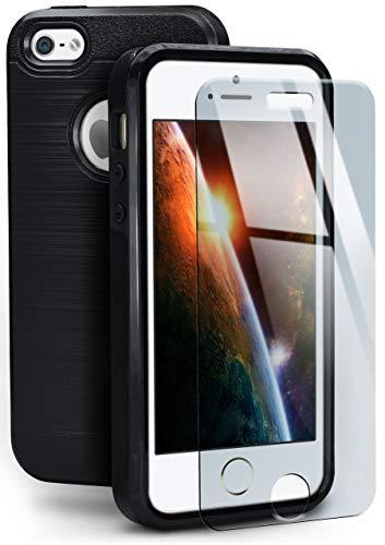 Moex 360° - Carcasa trasera y cristal templado para iPhone 5S/5/iPhone SE (doble capa, incluye protector de pantalla)