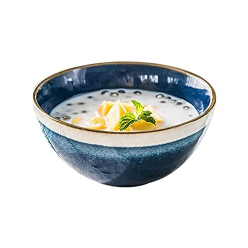 MRTYU-UY Cuencos para Comer para Adultos, Cuenco de Fideos instantáneo Azul Creativo Cuenco de Fideos Cuenco de Ensalada para el hogar Cuenco de Bola de Masa hervida 13 6cm (Color: predeterminado)