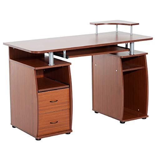 Yhjkvl Escritorio para ordenador de mesa de trabajo con cajones de tablero DM de densidad media, color marrón