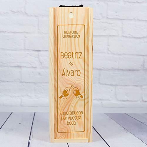 Regalo de Boda Personalizado: Caja de Madera para Botellas de Vino grabada con título, Nombres y dedicatoria. Número de Botellas a Elegir
