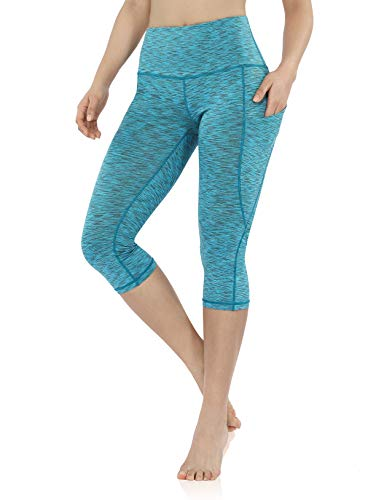 ODODOS Women's High Waisted Yoga Capris with Pocket, Workout Sports Running Athletic Capris with Pocket, SpaceDyeBlue,X-Large