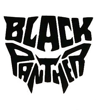 SUPERSTICKI® Black Panther Logo Word Aufkleber Decal Hintergrund/Maße in Inch Vinyl Sticker|Cars Trucks Vans Walls Laptop| BLACK |5.5 x 5 in|CCI1608