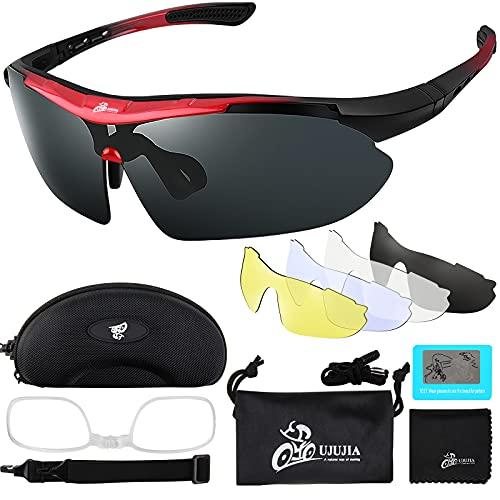 Fahrradbrille Sportbrille Sport Sonnenbrille Unisex Polarisierte UV400 Schutz mit 5 Wechselgläser Radbrillen für Outdoor-Sport Radfahren Motorradfahren Laufen Angeln Golf