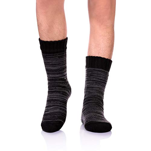 SDBING Mens Super Soft Warm Cozy Fuzzy Fluffy Thick Fleece-lined Winter With Grips Slipper Socks (Black)