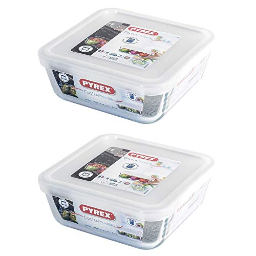 Pyrex Microwave Safe Classic Square Glass Dish with Plastic Lid 2.0 Litre White (Pack of 2)