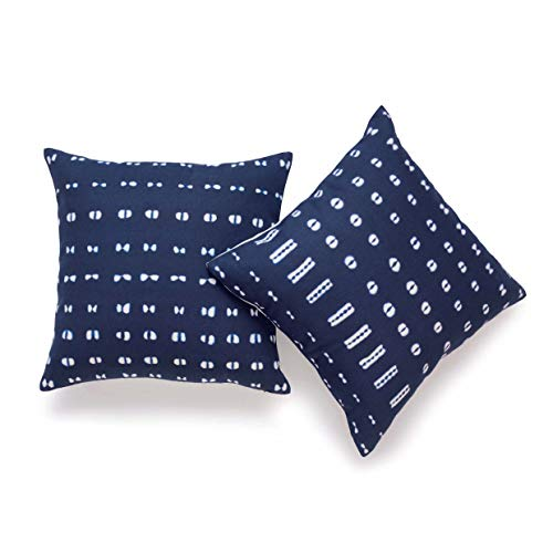 Hofdeco African Mudcloth Cushion Cover ONLY, Indigo Shibori Inspired Print, 45cmx45cm, Set of 2