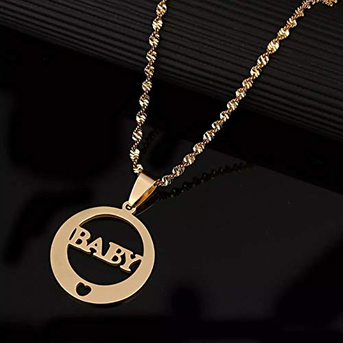 WDBUN Necklace pendant Stainless Steel Trendy Round Baby Pendant Necklace Love Heart Children Cute Chain Jewelry Mother's Day Christmas Birthday Party Gift
