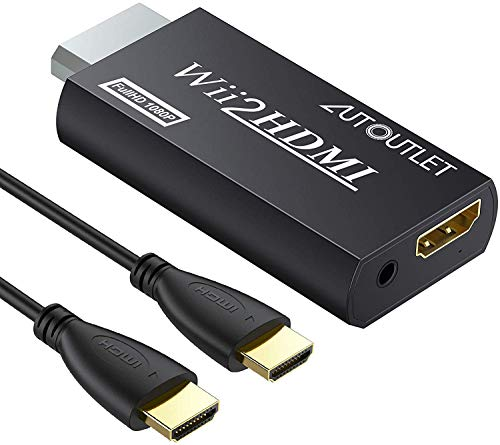 AUTOUTLET Wii zu HDMI Adapter, Wii Hdmi 1080P/720P Full HD Konverter, mit 3,5mm Video Audio Ausgang Buchse und 1m HDMI Kabel, für Nintendo Wii, TV Monitor Beamer Fernseher, schwarz