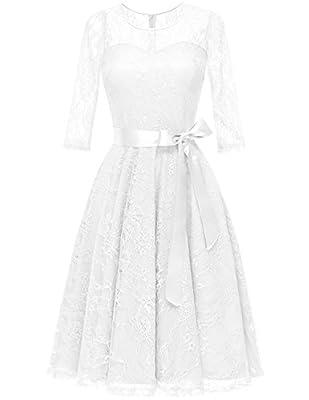 DRESSTELLS Women's Illusion Bridesmaid Dress Floral Lace Cocktail Party Tea Dress