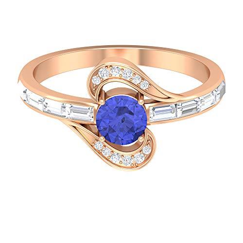 Anillo de compromiso de Tanzanita, piedras preciosas redondas de 0,94 quilates, anillo de promesa solitario de diamante HI-SI de 5 mm, anillo de diamante baguette, 14K Oro rosa, Size:EU 46