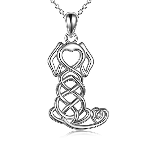 ONEFINITY Dog Necklace Sterling Silver Animal Necklace Irish Celtic Knot Dog Pendant Good Luck Dog Jewelry Gifts for Women