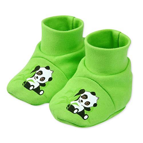 Baby Sweets Schuhe grün | Motiv: Happy Panda | Babyschuhe aus Bambus für Neugeborene & Kleinkinder | Größe: Newborn (56)
