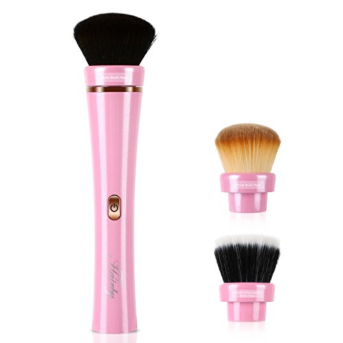 Electric Makeup Brush Set - HAIRBY 360° Rotating Automatic Cosmetic Brush Spinner with Foudation, Blush and Powder Brush Head, Premium Synthetic Fiber Bristles, 2 Adjustable Speeds USB Rechargeable
