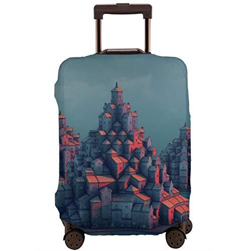 Cubierta de equipaje de viaje Townscaper Tower Town Maleta Protector lavable Cubiertas de equipaje