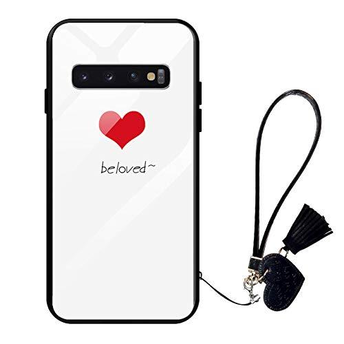 Oihxse Compatible pour Samsung Galaxy S8+ Plus Coque Verre Trempé avec Cordon Transparent Mode Motif Boîtier en Verre Arrière Silicone TPU Cadre Antichoc Anti-Scratch Protection Cover,A1