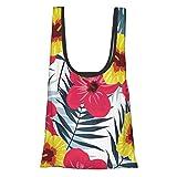 Bolsa de compras reutilizable y lavable con hojas de palma tropicales de la selva 50 libras plegable, respetuosa con el medio ambiente.