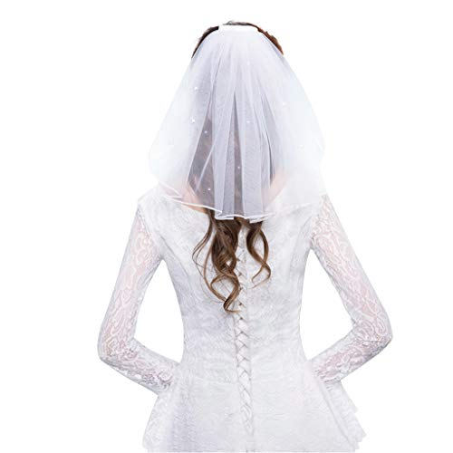 SimpleLife Bridal Veil Tüll Brautkleid Schleier mit Kamm Ribbon Edge Strass Kunstperlen Short Bridal Hair Veil