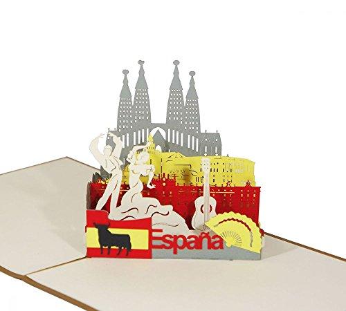 """3D KARTE\""""Spanien\"""" I Pop-Up Karte als Reisegutschein I Klappkarte als Andenken oder Geldgeschenk"""